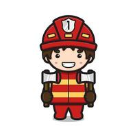 mignon, pompier, caractère, tenue, deux, axes, dessin animé, vecteur, icône, illustration vecteur