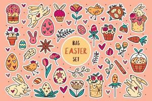 Pâques doodle dessinés à la main vector ensemble d'éléments, clipart, autocollants conception d'art en ligne. isolé sur fond. gâteaux de Pâques, lapins, muffins, plantes, œufs, épices, fleurs.