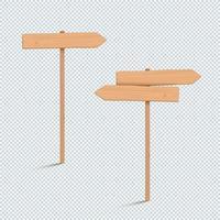 Panneau en bois serti de flèche à deux directions 3d vide vecteur