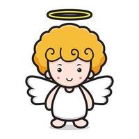 mignon, ange, dessin animé, caractère, sourire, figure vecteur
