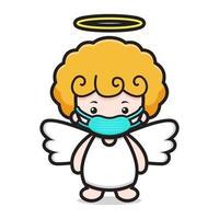 personnage de dessin animé mignon ange portant un masque vecteur