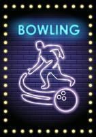Joueur de bowling au néon vecteur