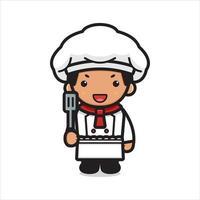 mignon, chef, caractère, tenue, spatule, dessin animé, vecteur, icône, illustration vecteur