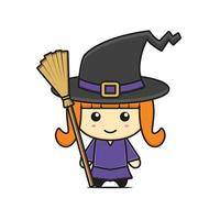 thème halloween de personnage de mascotte de sorcière mignonne vecteur