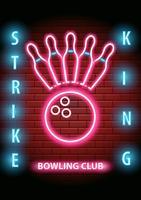 Club de bowling au néon vecteur