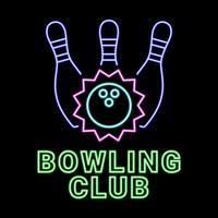 Bowling Club au néon vecteur