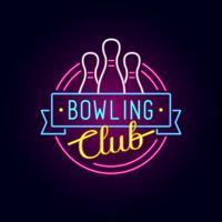 Signe de bowling au néon vecteur