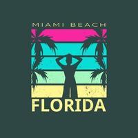 illustration de miami beach paradise florida pour le surf vecteur