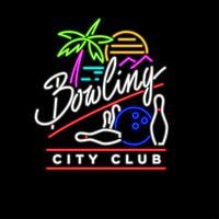 Vecteur de Bowling au néon