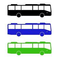 ensemble de bus de la ville sur fond blanc vecteur