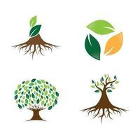 ensemble de conception d'images logo arbre vecteur