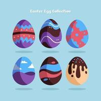 illustrations colorées d'oeufs de Pâques ornés vecteur