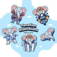 illustrations vectorielles d'éléphant de vacances mignonnes vacances vecteur