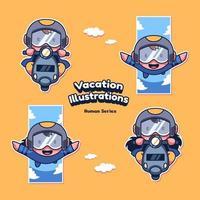 illustrations vectorielles humaines de vacances mignonnes vacances vecteur