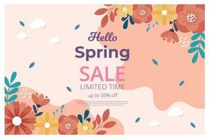 bonjour bannière de vente de printemps avec fleur de fleur. bannière de vente. illustration vectorielle. dessiné à la main. vecteur