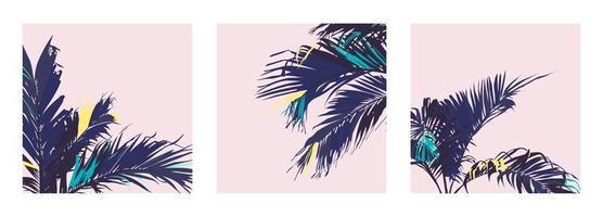Feuille de palmiers tropicaux pastel exotique, palette de couleurs pastel vintage rétro vecteur