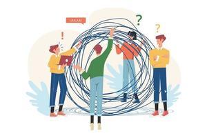 résolution de problèmes de concept d'entreprise enchevêtrés et démêlés