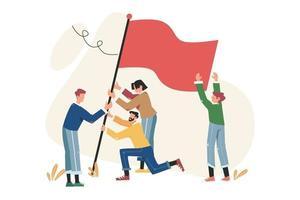 drapeau de réalisation des objectifs comme symbole de réussite vecteur