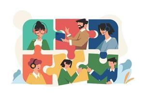 personnes en ligne connectant des éléments de puzzle social vecteur