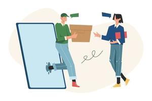 transaction en ligne l'ouverture d'une nouvelle entreprise en démarrage vecteur