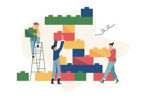 personnes reliant les éléments des blocs vecteur