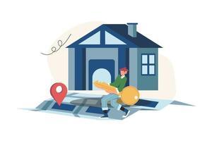 concept d'entreprise immobilier avec croissance du marché des maisons vecteur