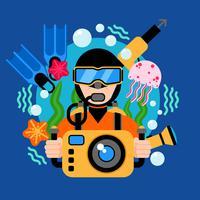 Illustration de plongée sous-marine vecteur