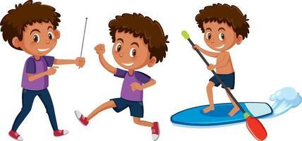 ensemble d & # 39; un personnage de dessin animé de garçon faisant différentes activités