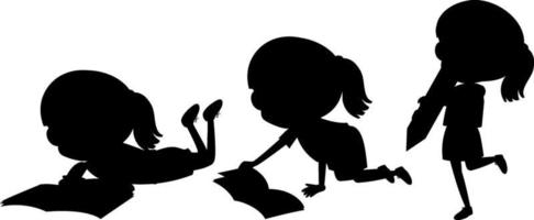 personnage de dessin animé de la silhouette des enfants sur fond blanc