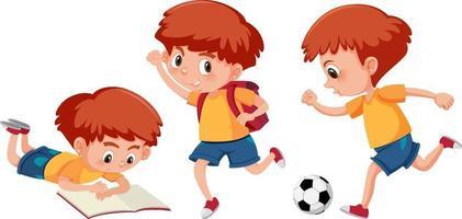 ensemble d & # 39; un personnage de dessin animé de garçon faisant différentes activités vecteur
