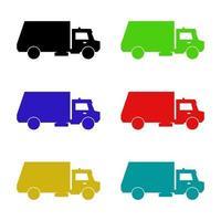 camion poubelle sur fond blanc vecteur