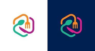 cuillère, fourchette, logo de couteau. icône de mélange de nourriture, modèle vectoriel de logo outils hexagonaux modernes