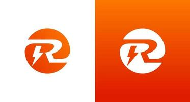 création de logo électrique r avec élément d'étincelle et de tension, logo initial cercle r vecteur