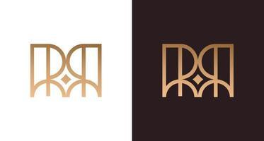 élégant logo lettre rr avec élément étoile, monogramme initial de luxe rr, modèle vectoriel de logo
