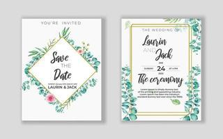 carte d'invitation florale dorée de mariage enregistrer la conception de la date avec des fleurs roses vecteur