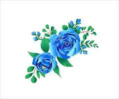 modèle d'invitation de mariage floral bleu classique vecteur