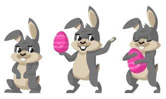 drôle de lapin de Pâques dans des poses différentes. vecteur