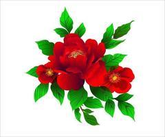 concepteur de vecteur fleur rouge naturel laisse des herbes dans un style aquarelle