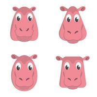 ensemble d'hippopotames de dessin animé. vecteur