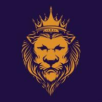 lion élégant avec couronne vecteur