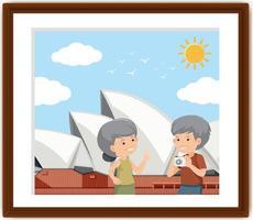 un cadre photo avec vieux couple voyageant à sydney vecteur