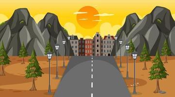 scène avec une longue route à travers le parc jusqu'à la ville