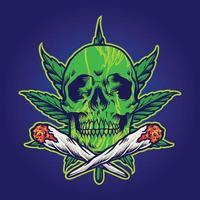 crâne de cannabis vert vecteur