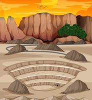 paysage avec scène de carrière minière vecteur