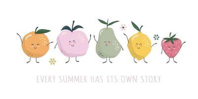 personnages de fruits kawaii. dessins animés mignons isolés sur blanc. bonbons d'été pour les enfants. vecteur