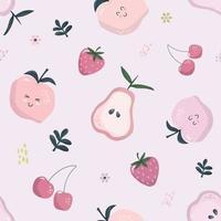 modèle sans couture de dessin animé en rose pastel. fond de fruits d'été. girly. vecteur