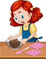 chef fille avec équipement de cuisson sur la table vecteur