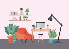 Fauteuil orange et bureau avec des plantes dans la conception de vecteur de salon