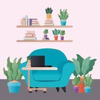 Fauteuil bleu avec des plantes et un ordinateur portable dans la conception de vecteur de salon