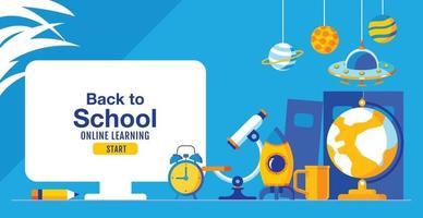 retour à l'école, apprentissage en ligne, enfant, enfants, distanciation sociale, design plat, illustration vectorielle.